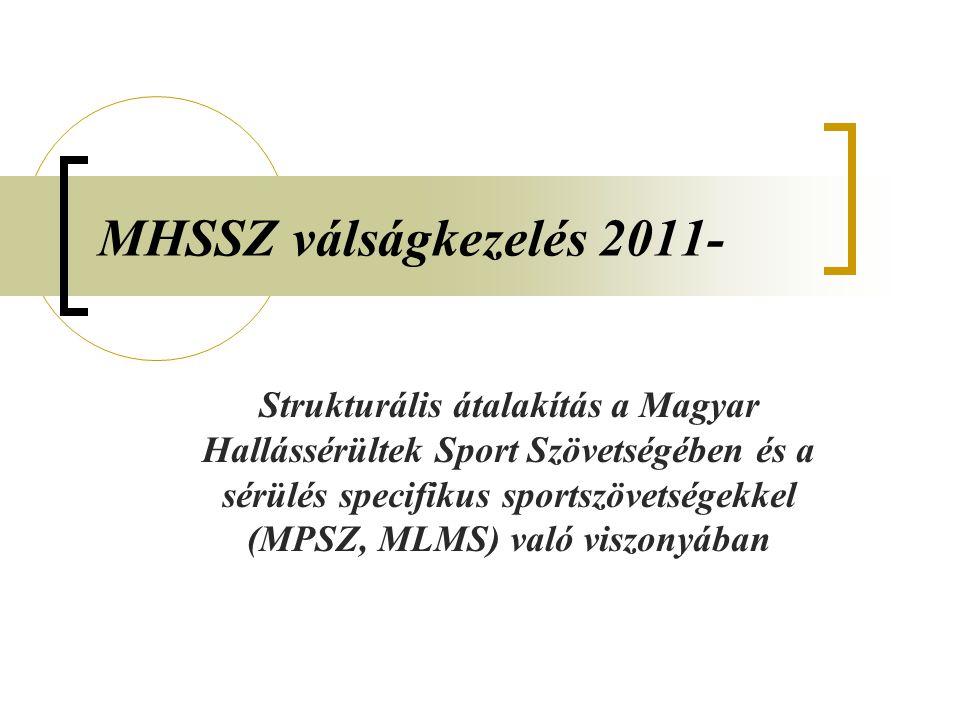 MHSSZ válságkezelés 2011- Strukturális átalakítás a Magyar Hallássérültek Sport Szövetségében és a sérülés specifikus sportszövetségekkel (MPSZ, MLMS) való viszonyában