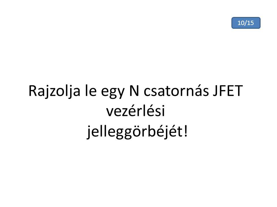 Rajzolja le egy N csatornás JFET vezérlési jelleggörbéjét! 10/15