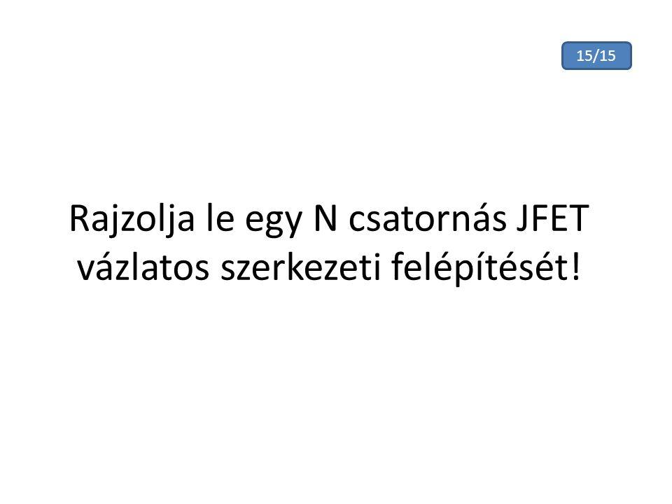 Rajzolja le egy N csatornás JFET vázlatos szerkezeti felépítését! 15/15
