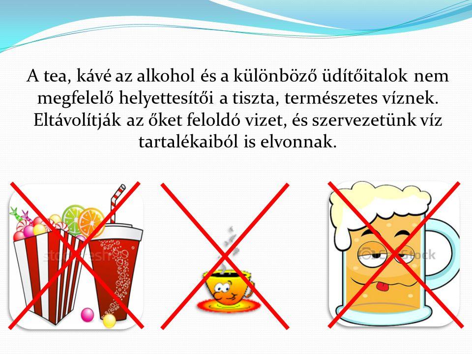 A tea, kávé az alkohol és a különböző üdítőitalok nem megfelelő helyettesítői a tiszta, természetes víznek.