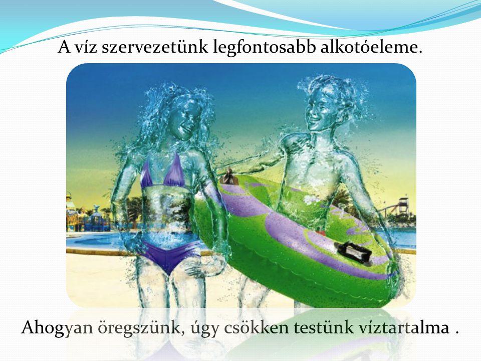 Ahogyan öregszünk, úgy csökken testünk víztartalma. A víz szervezetünk legfontosabb alkotóeleme.