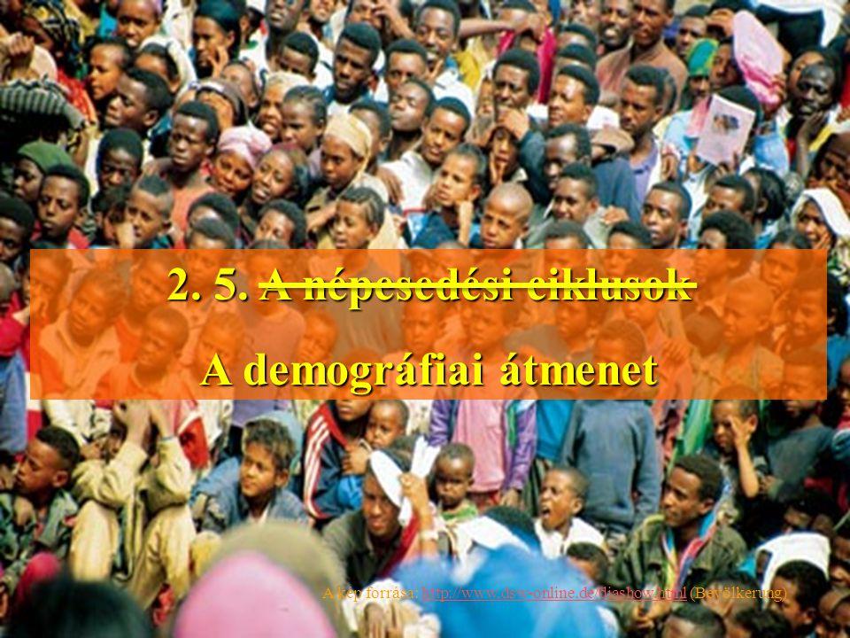 2. 5. A népesedési ciklusok A demográfiai átmenet A kép forrása: http://www,dsw-online.de/diashow.html (Bevölkerung)http://www,dsw-online.de/diashow.h