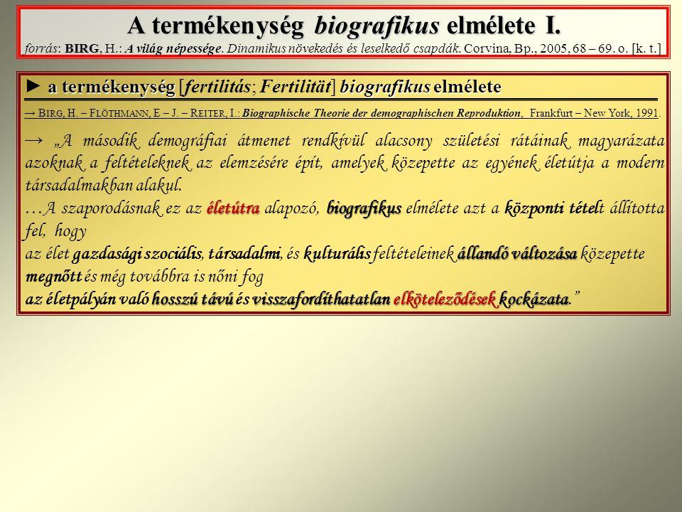 A termékenység biografikus elmélete I.BIRG A termékenység biografikus elmélete I.