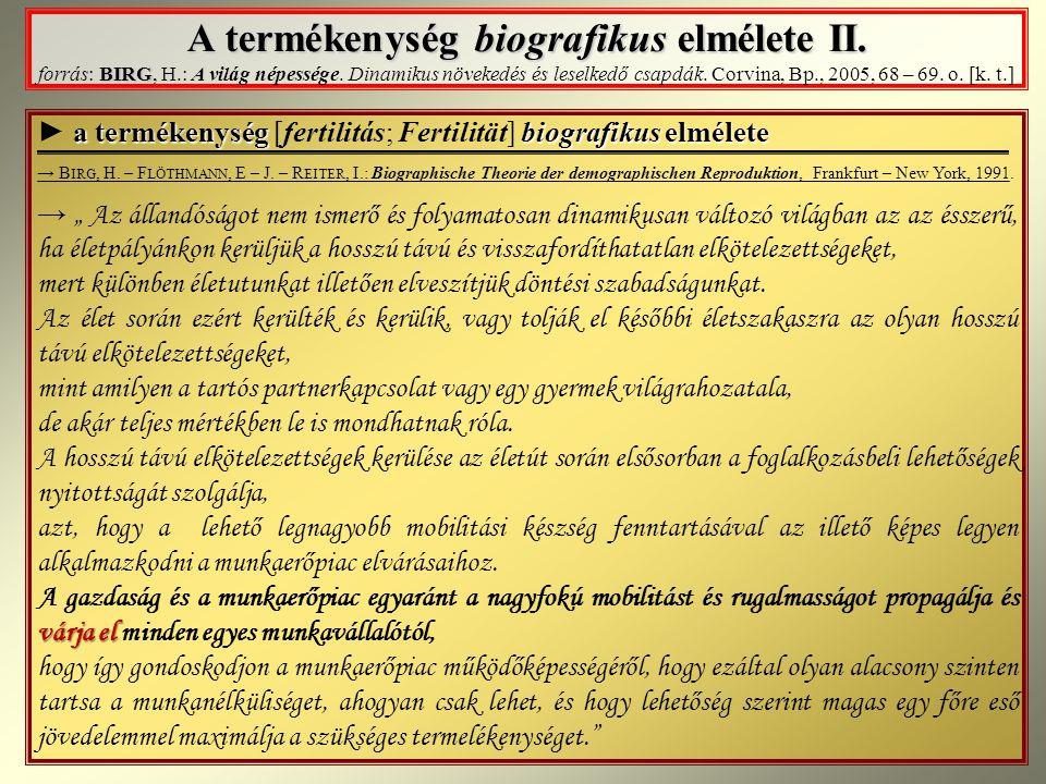 A termékenység biografikus elmélete II.BIRG A termékenység biografikus elmélete II.