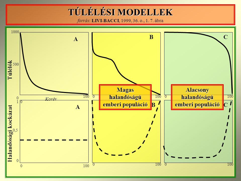 TÚLÉLÉSI MODELLEK TÚLÉLÉSI MODELLEK forrás: LIVI-BACCI, 1999, 36.