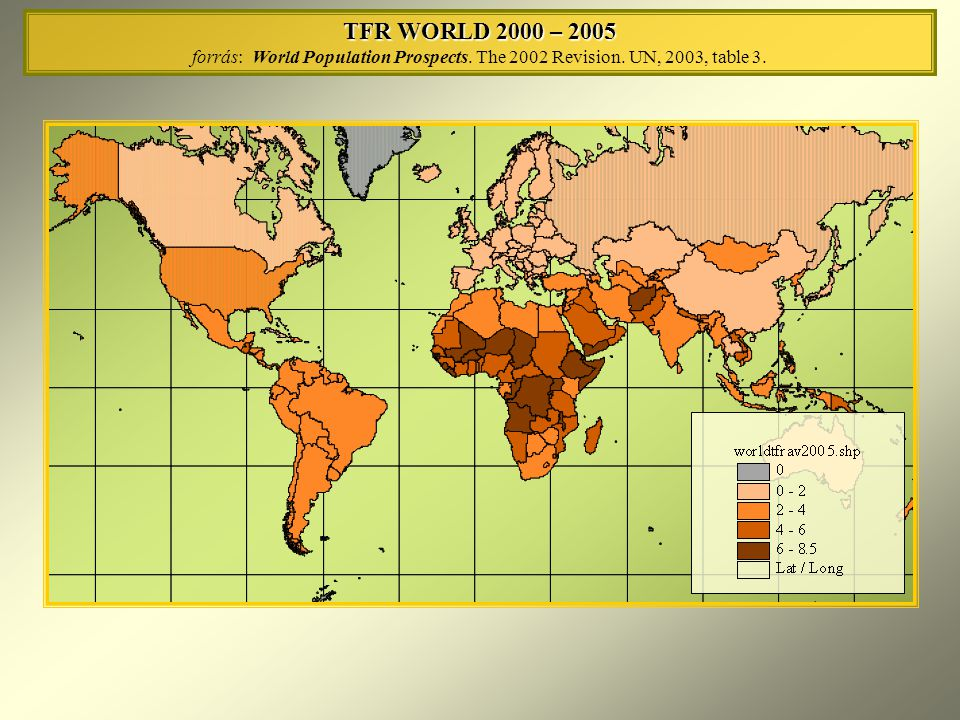 TFR EUROPE 2000 – 2005 forrás: World Population Prospects.
