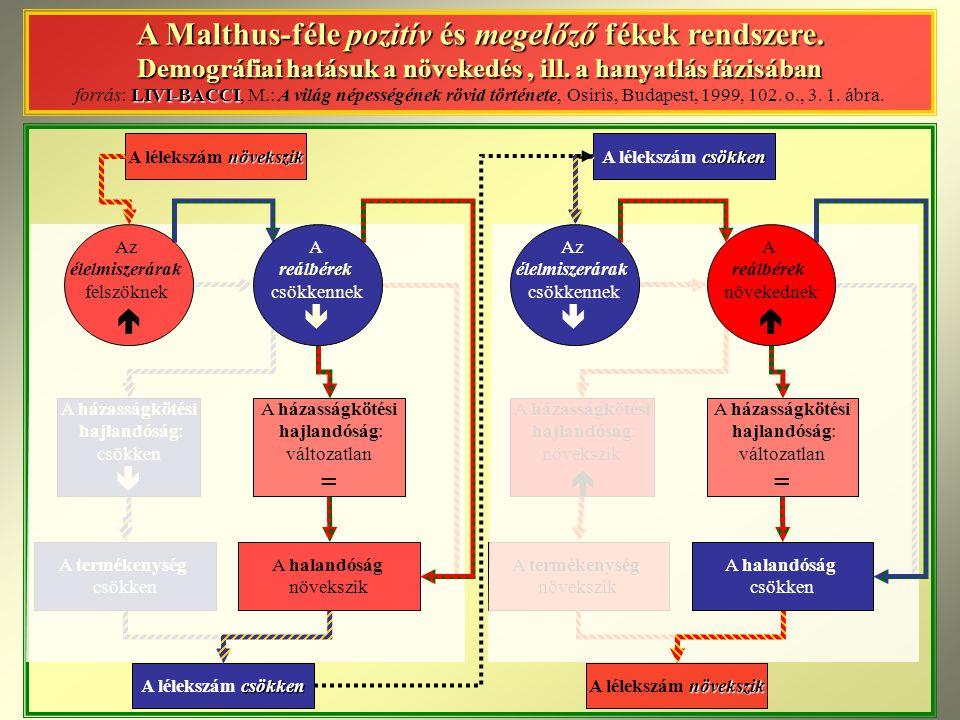 növekszik A lélekszám növekszik A házasságkötési hajlandóság: csökken  A termékenység csökken csökken A lélekszám csökken A Malthus-féle pozitív és m