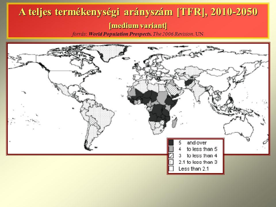 A teljes termékenységi arányszám [TFR], 2010-2050 [medium variant] A teljes termékenységi arányszám [TFR], 2010-2050 [medium variant] forrás: World Po