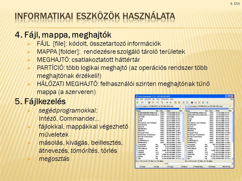 4. Fájl, mappa, meghajtók  FÁJL [file]: kódolt, összetartozó információk  MAPPA [folder]: rendezésre szolgáló tároló területek  MEGHAJTÓ: csatlakoz