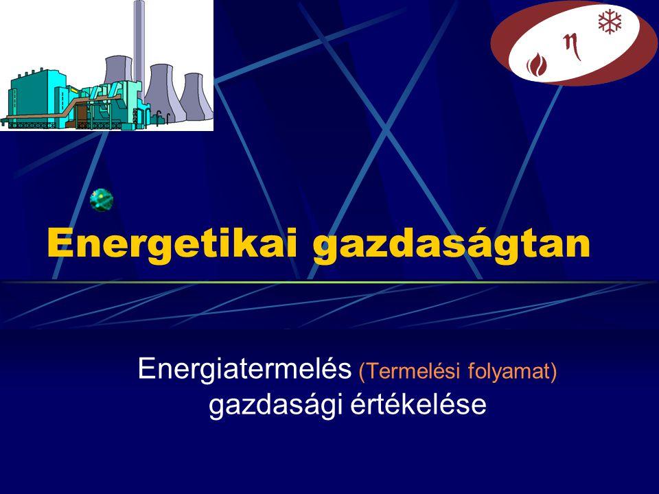 Energetikai gazdaságtan Energiatermelés (Termelési folyamat) gazdasági értékelése