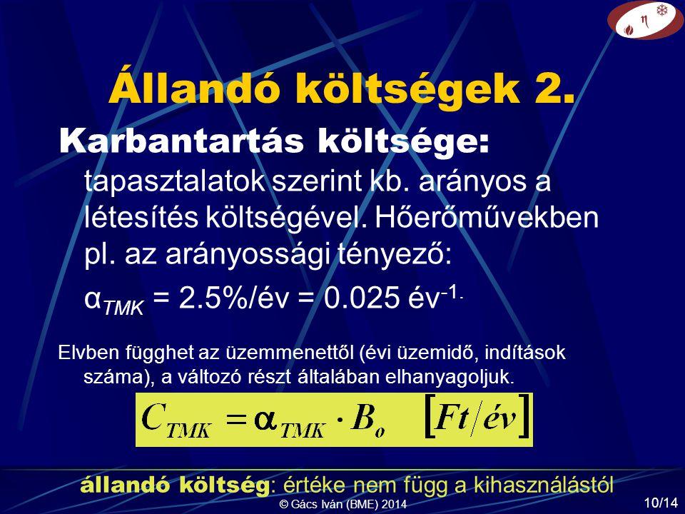 © Gács Iván (BME) 2014 10/14 Állandó költségek 2. Karbantartás költsége: tapasztalatok szerint kb.
