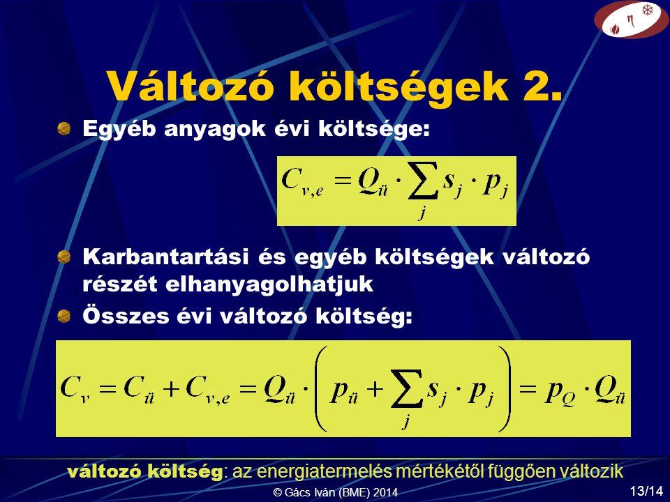 © Gács Iván (BME) 2014 13/14 Változó költségek 2.