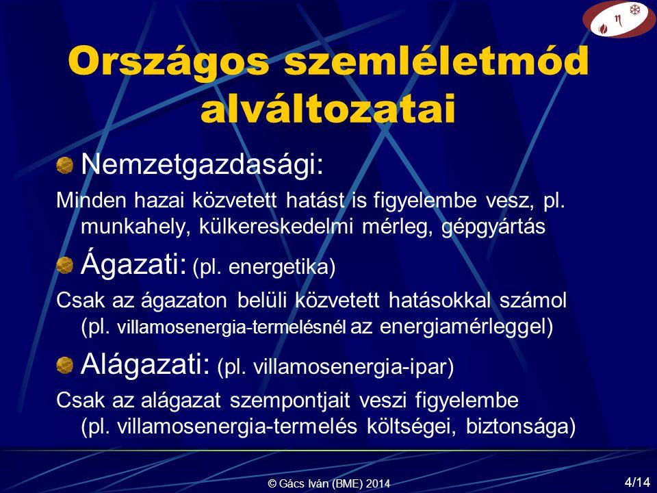 © Gács Iván (BME) 2014 4/14 Országos szemléletmód alváltozatai Nemzetgazdasági: Minden hazai közvetett hatást is figyelembe vesz, pl.