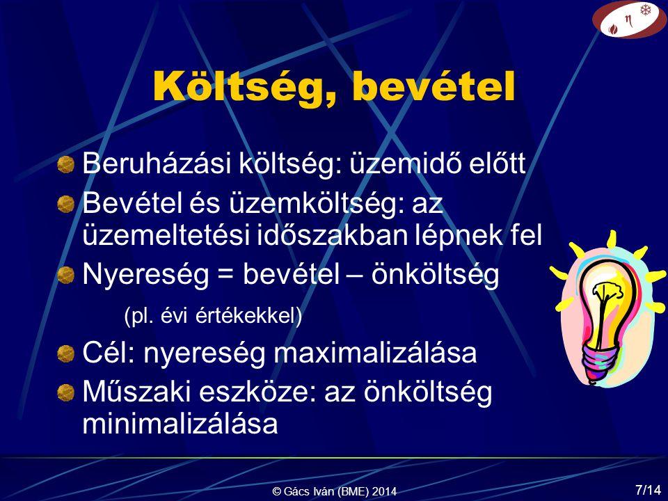 © Gács Iván (BME) 2014 7/14 Költség, bevétel Beruházási költség: üzemidő előtt Bevétel és üzemköltség: az üzemeltetési időszakban lépnek fel Nyereség = bevétel – önköltség (pl.