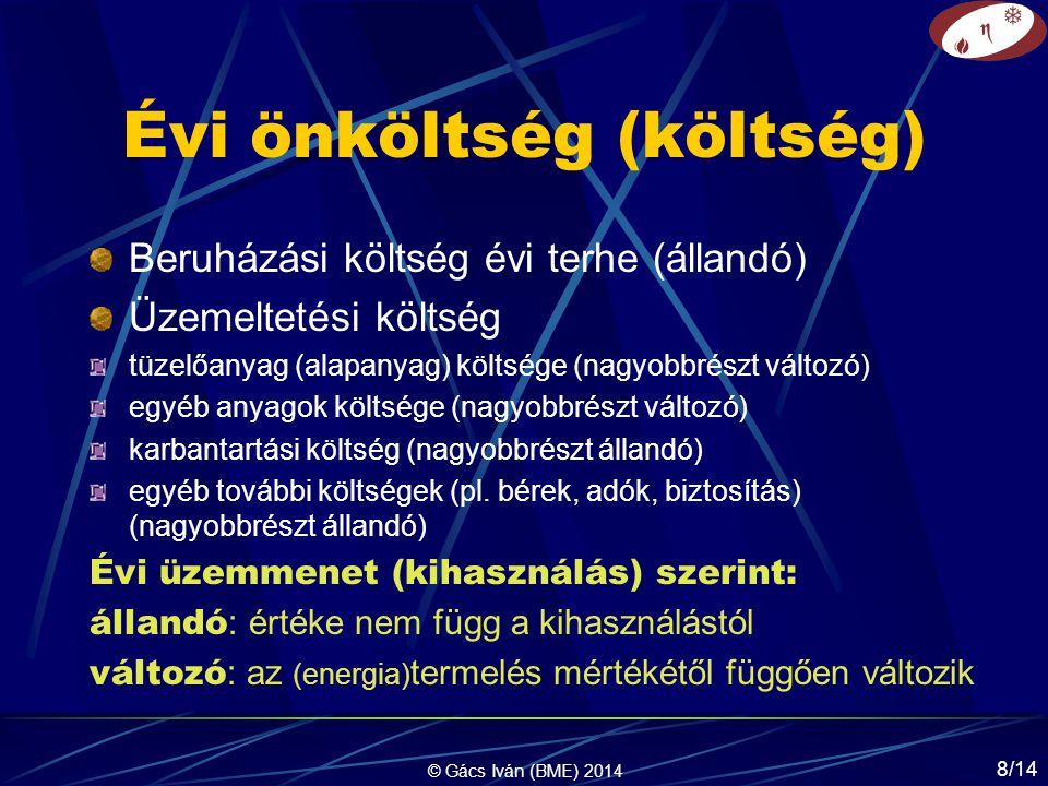 © Gács Iván (BME) 2014 8/14 Évi önköltség (költség) Beruházási költség évi terhe (állandó) Üzemeltetési költség tüzelőanyag (alapanyag) költsége (nagyobbrészt változó) egyéb anyagok költsége (nagyobbrészt változó) karbantartási költség (nagyobbrészt állandó) egyéb további költségek (pl.
