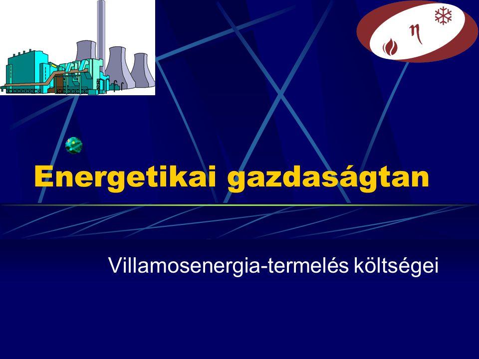 Energetikai gazdaságtan Villamosenergia-termelés költségei