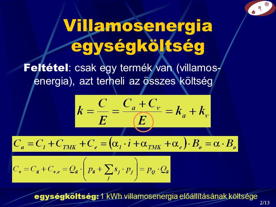 2/13 Villamosenergia egységköltség Feltétel : csak egy termék van (villamos- energia), azt terheli az összes költség egységköltség: 1 kWh villamosenergia előállításának költsége