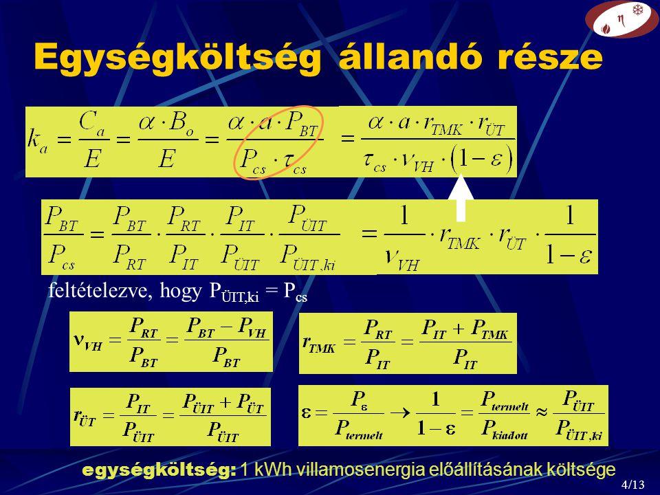 4/13 Egységköltség állandó része feltételezve, hogy P ÜIT,ki = P cs egységköltség: 1 kWh villamosenergia előállításának költsége