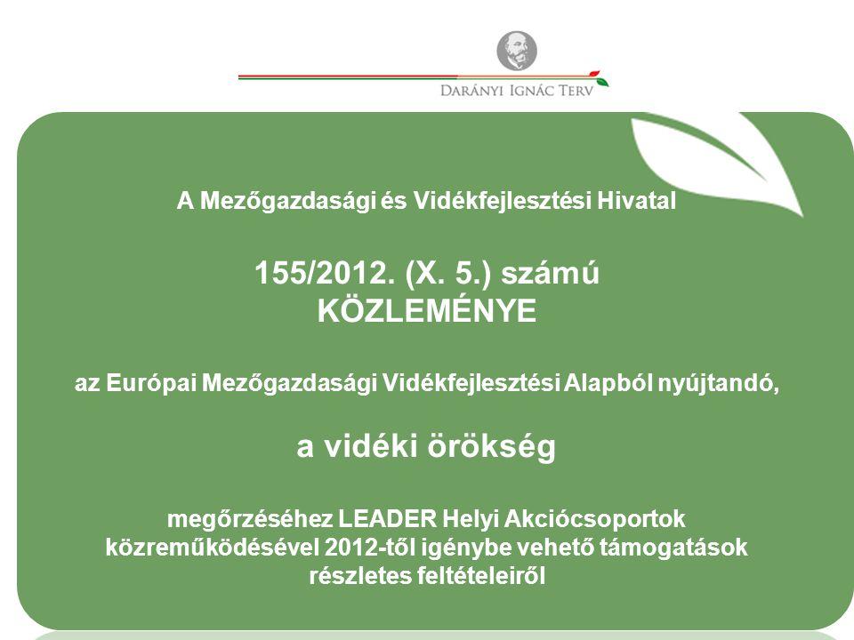 A Mezőgazdasági és Vidékfejlesztési Hivatal 155/2012.