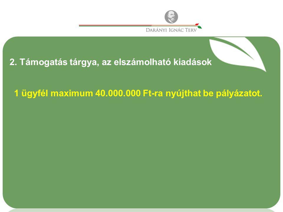2. Támogatás tárgya, az elszámolható kiadások 1 ügyfél maximum 40.000.000 Ft-ra nyújthat be pályázatot.