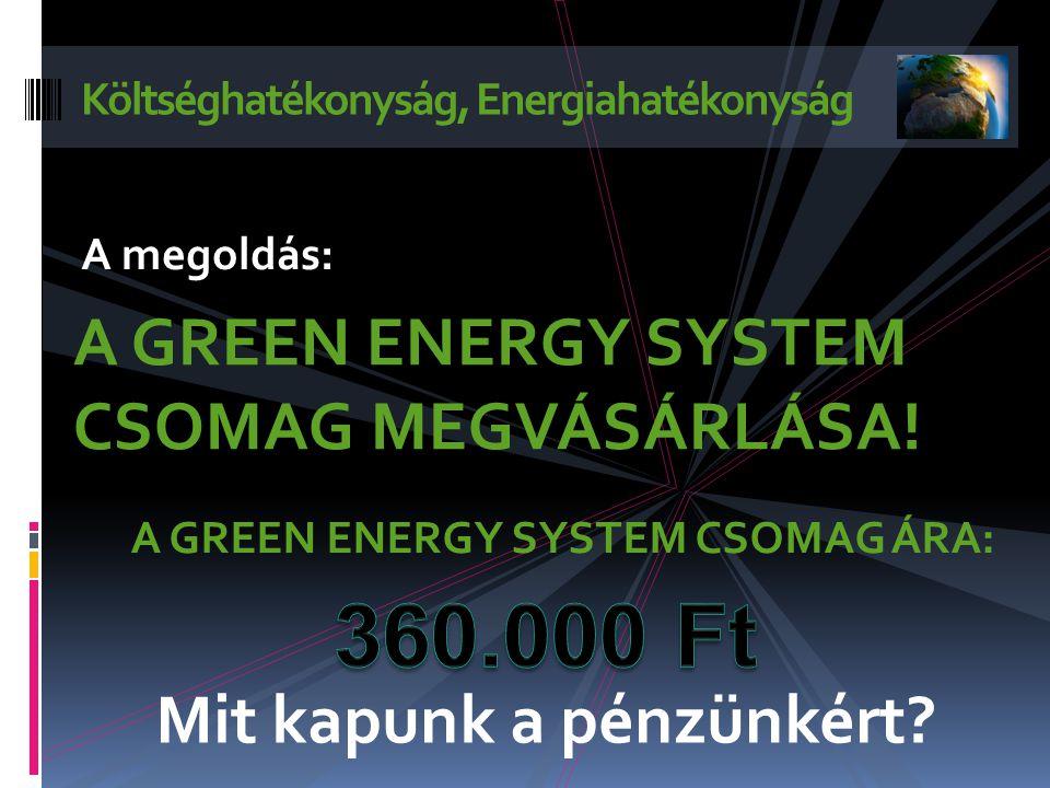 Költséghatékonyság, Energiahatékonyság A GREEN ENERGY SYSTEM CSOMAG MEGVÁSÁRLÁSA.
