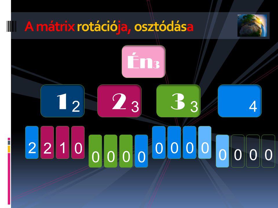 A mátrix rotációja, osztódása Én 3 1 2 2 3 3 3 4 0 1 2 2 0 00 00 000 0000