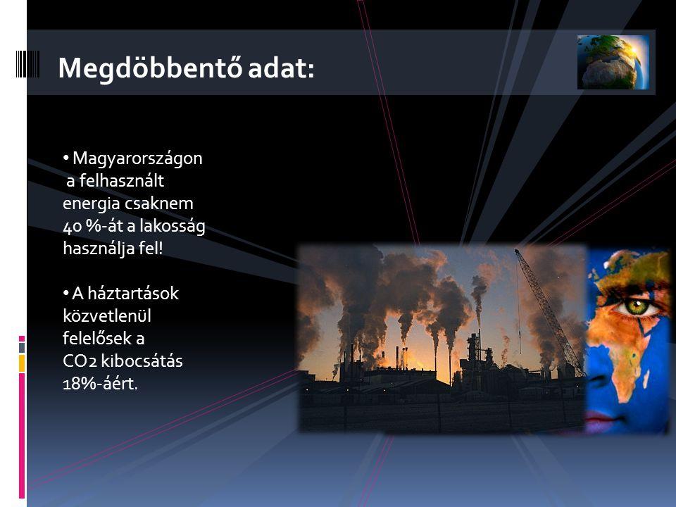 • Magyarországon a felhasznált energia csaknem 40 %-át a lakosság használja fel.