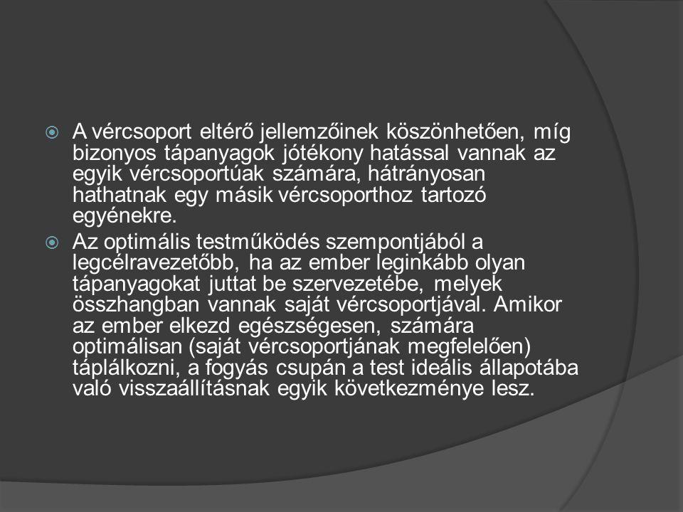 A vércsoport szerinti táplálkozás - A vércsoport diéta táblázat A vércsoport - a hízás legfőbb tényezői:  HÚSFÉLÉK: rosszul emészthetők, zsírként tárolódnak, növelik a toxinok szintjét  TEJTERMÉKEK: gátolják a tápanyagok metabolizmusát  VETEMÉNYBAB, LIMABAB: zavarja az emésztőenzimek működését, lassú metabolikus ráta  BÚZA (túlzott mennyiségben): gátolja az inzulin hatékonyságát, rontja a kalória- felhasználást