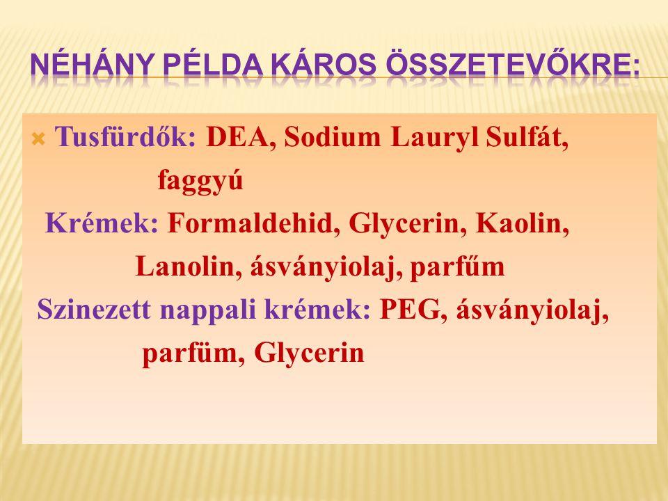 Néhány példa káros összetevőkre:  Szájvíz: Alkohol, ízeítőanyagok, Sodium Lauryl Sulfát Fogkrémek: Fluor, Sodium Lauryl Sulfát, Propylenglykol, Saccharin Samponok: Sodium Lauryl Sulfát, DEA, Oxybenzon Dezodorok: Aluminiumsók, Butan, Propan, Alkohol, Talkum Borotva hab: DEA, Sodium Lauryl Sulfát, faggyú Néhány példa káros összetevőkre:  Szájvíz: Alkohol, ízeítőanyagok, Sodium Lauryl Sulfát Fogkrémek: Fluor, Sodium Lauryl Sulfát, Propylenglykol, Saccharin Samponok: Sodium Lauryl Sulfát, DEA, Oxybenzon Dezodorok: Aluminiumsók, Butan, Propan, Alkohol, Talkum Borotva hab: DEA, Sodium Lauryl Sulfát, faggyú
