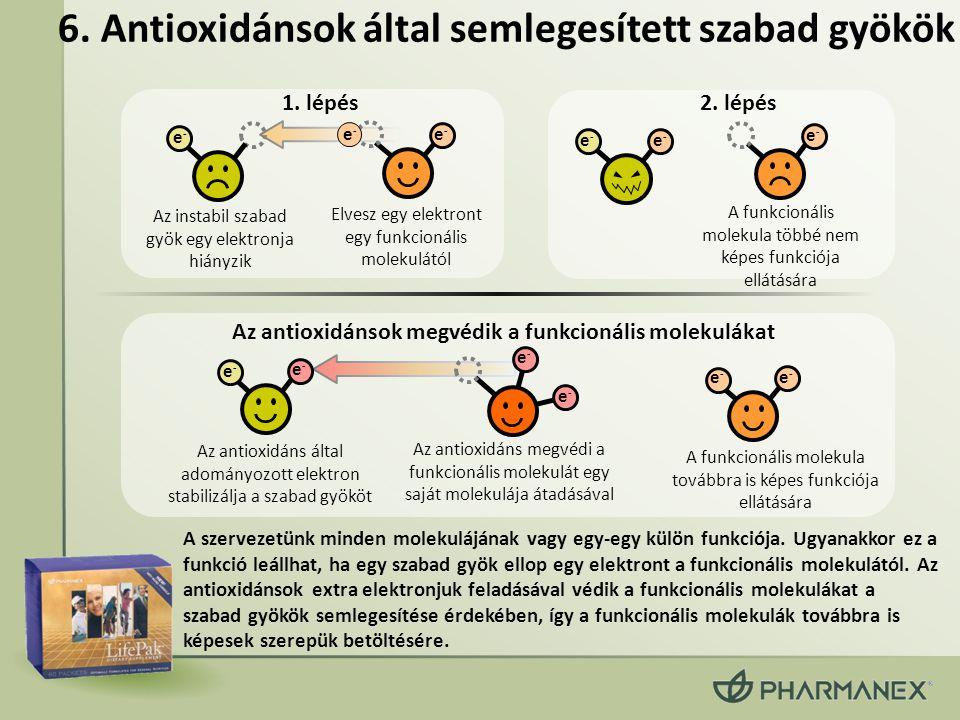 6. Antioxidánsok által semlegesített szabad gyökök A szervezetünk minden molekulájának vagy egy-egy külön funkciója. Ugyanakkor ez a funkció leállhat,