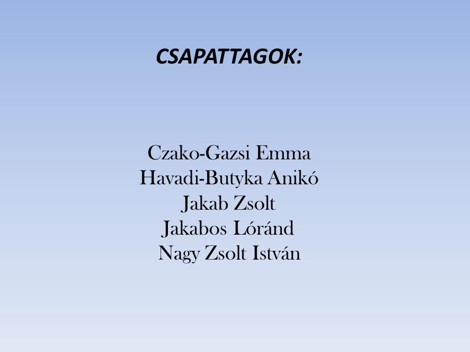 CSAPATTAGOK: Czako-Gazsi Emma Havadi-Butyka Anikó Jakab Zsolt Jakabos Lóránd Nagy Zsolt István