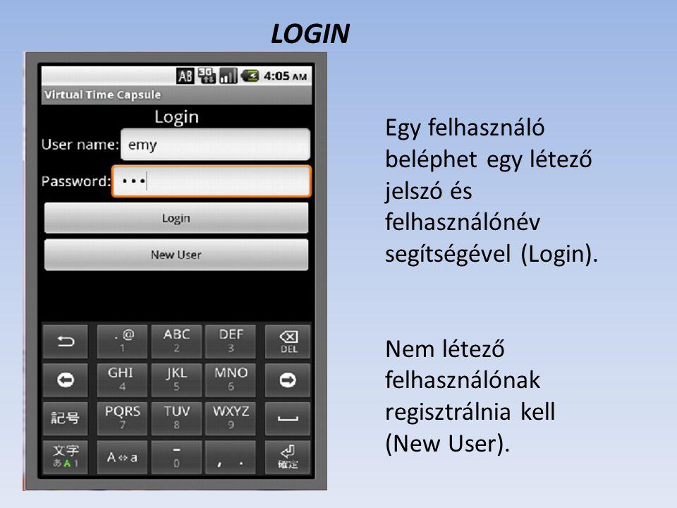 Egy felhasználó beléphet egy létező jelszó és felhasználónév segítségével (Login). Nem létező felhasználónak regisztrálnia kell (New User). LOGIN