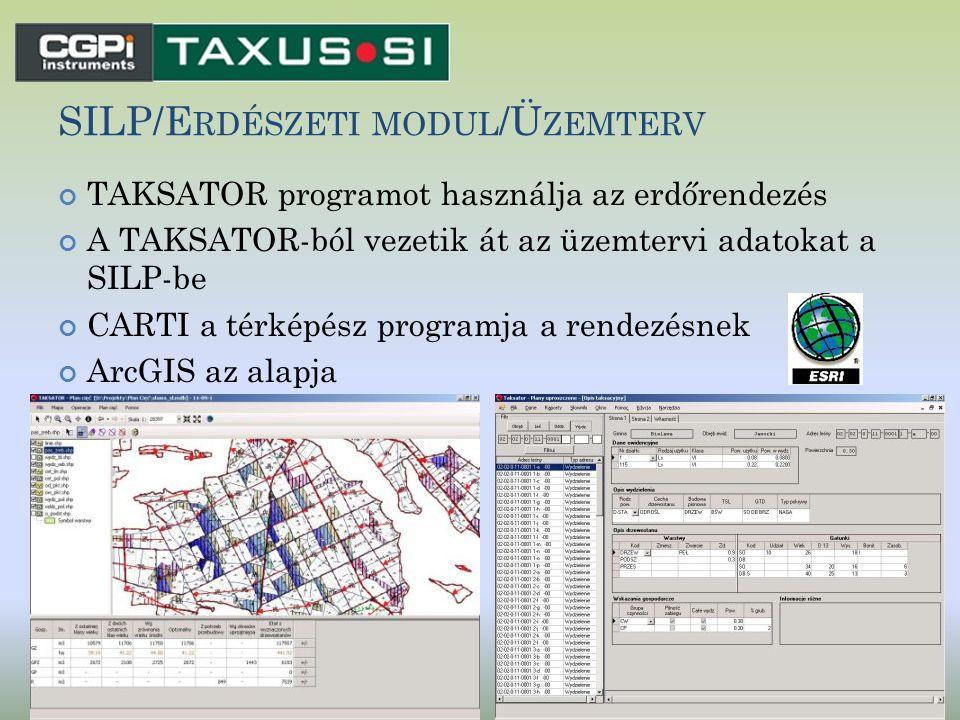 SILP/E RDÉSZETI MODUL /Ü ZEMTERV TAKSATOR programot használja az erdőrendezés A TAKSATOR-ból vezetik át az üzemtervi adatokat a SILP-be CARTI a térkép