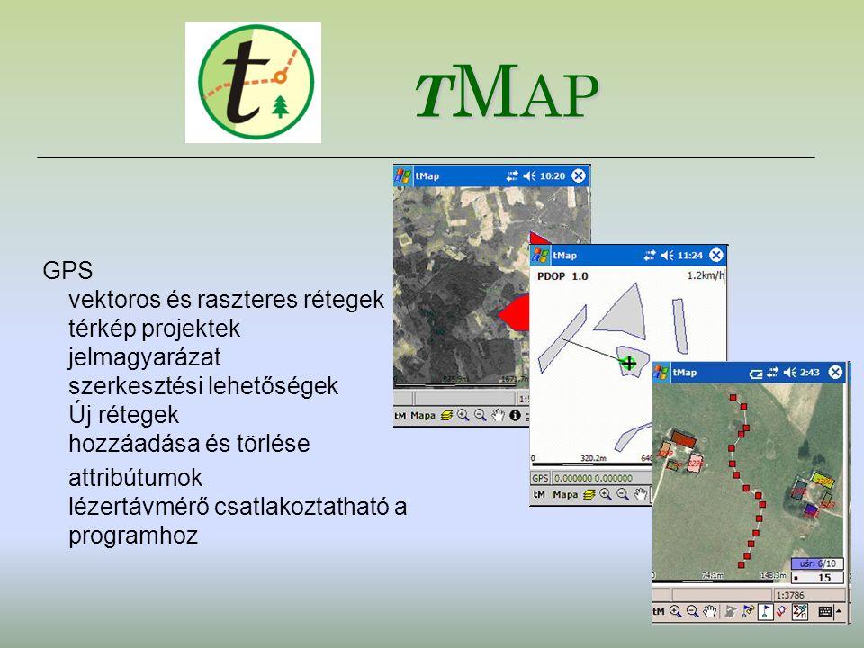GPS vektoros és raszteres rétegek térkép projektek jelmagyarázat szerkesztési lehetőségek Új rétegek hozzáadása és törlése attribútumok lézertávmérő c