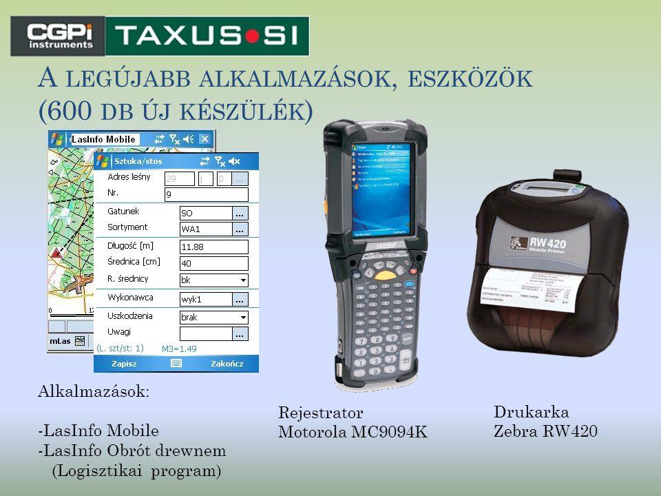 A LEGÚJABB ALKALMAZÁSOK, ESZKÖZÖK (600 DB ÚJ KÉSZÜLÉK ) Rejestrator Motorola MC9094K Drukarka Zebra RW420 Alkalmazások: -LasInfo Mobile -LasInfo Obrót