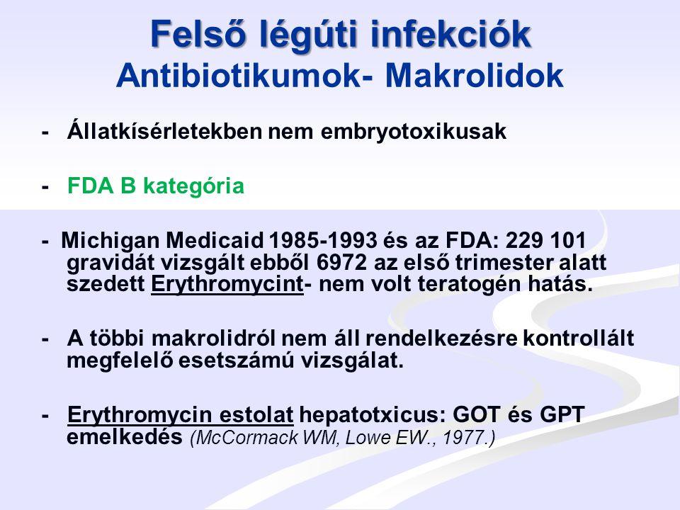 Felső légúti infekciók Felső légúti infekciók Antibiotikumok-Tetracyclinek FDA D-kategória - A fejlődő csöves csontokban és a fogakban tárolódik- fogak elszíneződése (csak a 4.