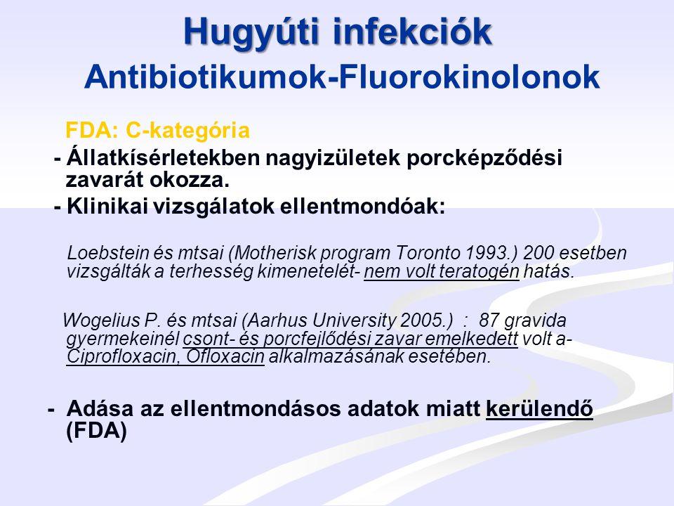 Hugyúti infekciók Hugyúti infekciók Nitrofurantoin Nitrofurantoin: FDA B-kategória Állatkísérletek: ellentmondásos adatok I.
