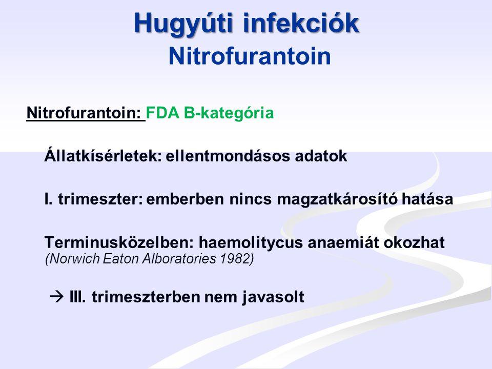 Egyéb infekciók Egyéb infekciók Metronidazol Metronidazol: FDA B-kategória Mutagén és carcinogén hatás állatkísérletekben.