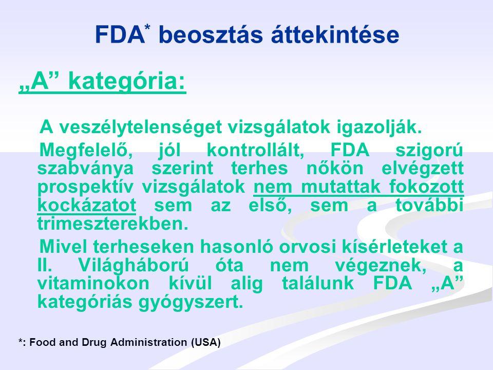 """FDA * beosztás áttekintése """"B kategória: Az állatkísérletek nem mutattak fokozott kockázatot és terhes nőkön végzett kontrollált vizsgálat nem áll rendelkezésre VAGY az állatkísérletek kimutattak káros hatást, de ezt terheseken végzett vizsgálatok nem bizonyították."""