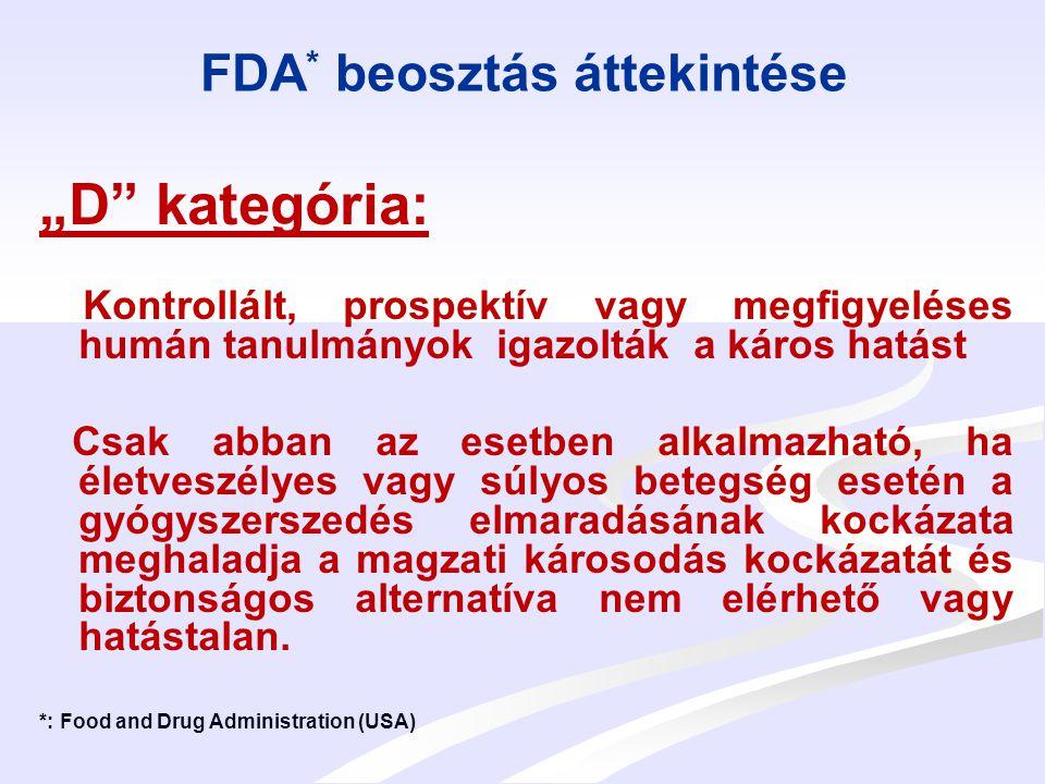 """FDA * beosztás áttekintése """"X kategória: Abszolút kontraindikált, igazoltan magas teratogenitású gyógyszerek Humán vagy állatkísérletek kimutatták a káros hatást, és/vagy a magzati hatás emberben egyértelműen bizonyított A gyógyszer alkalmazásának kockázata egyértelműen meghaladja a lehetséges kedvező hatásokat *: Food and Drug Administration (USA)"""