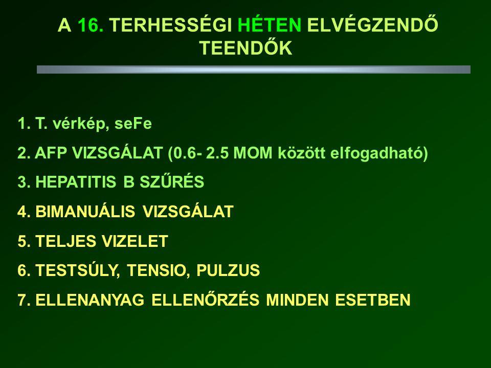 A 16.TERHESSÉGI HÉTEN ELVÉGZENDŐ TEENDŐK 1. T. vérkép, seFe 2.