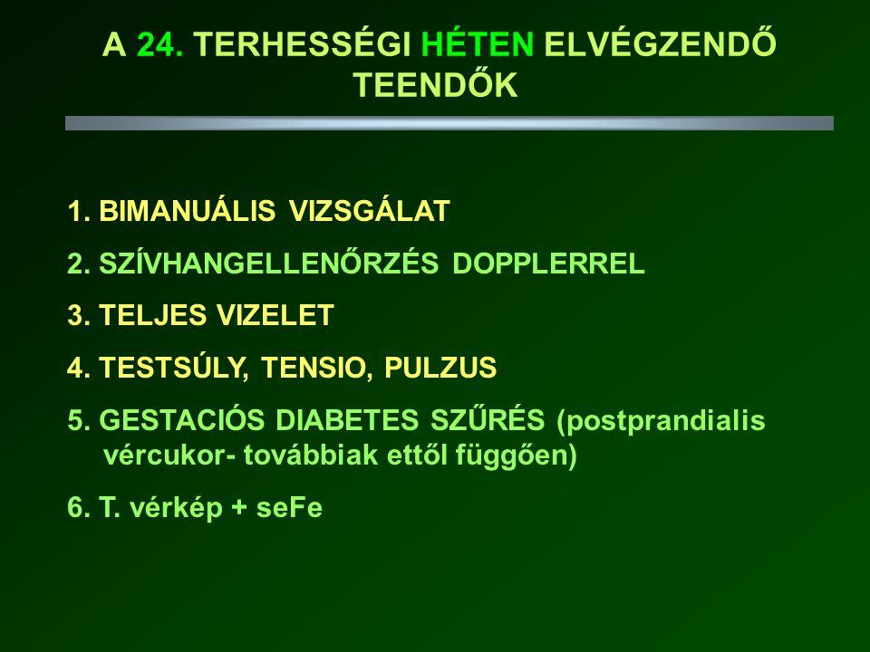 A 24.TERHESSÉGI HÉTEN ELVÉGZENDŐ TEENDŐK 1. BIMANUÁLIS VIZSGÁLAT 2.