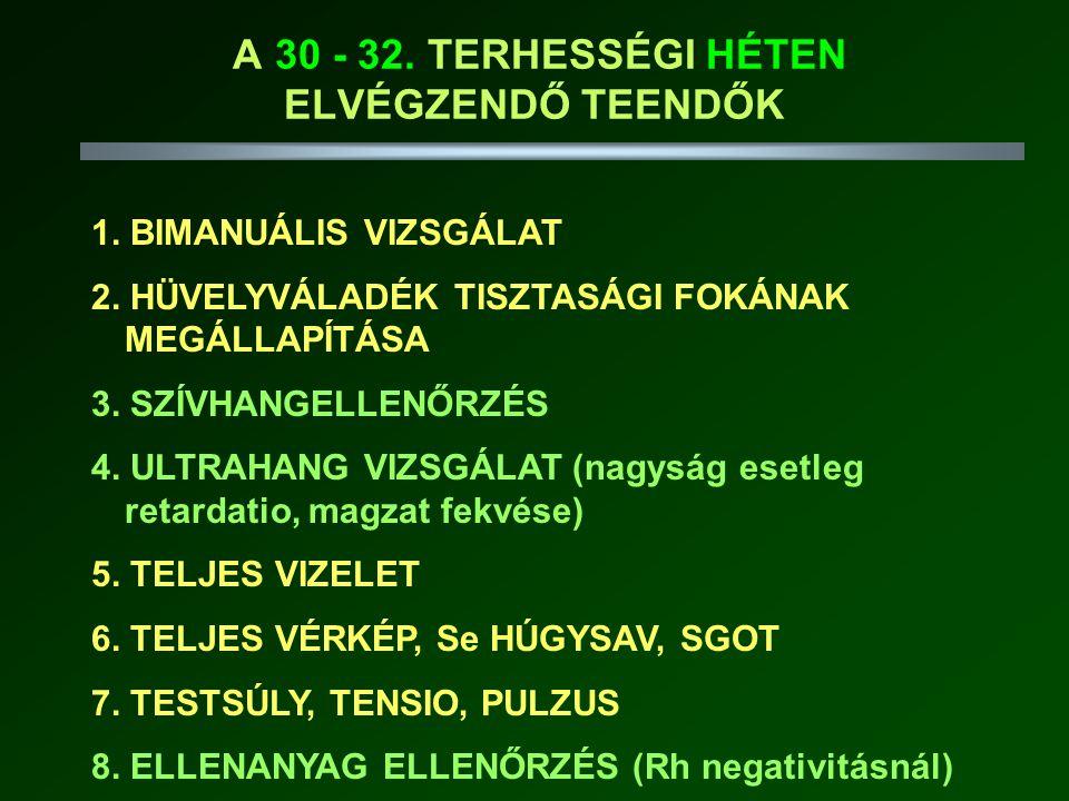 A 30 - 32.TERHESSÉGI HÉTEN ELVÉGZENDŐ TEENDŐK 1. BIMANUÁLIS VIZSGÁLAT 2.