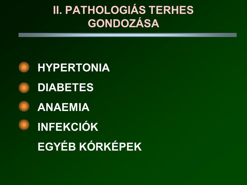 II. PATHOLOGIÁS TERHES GONDOZÁSA HYPERTONIA DIABETES ANAEMIA INFEKCIÓK EGYÉB KÓRKÉPEK
