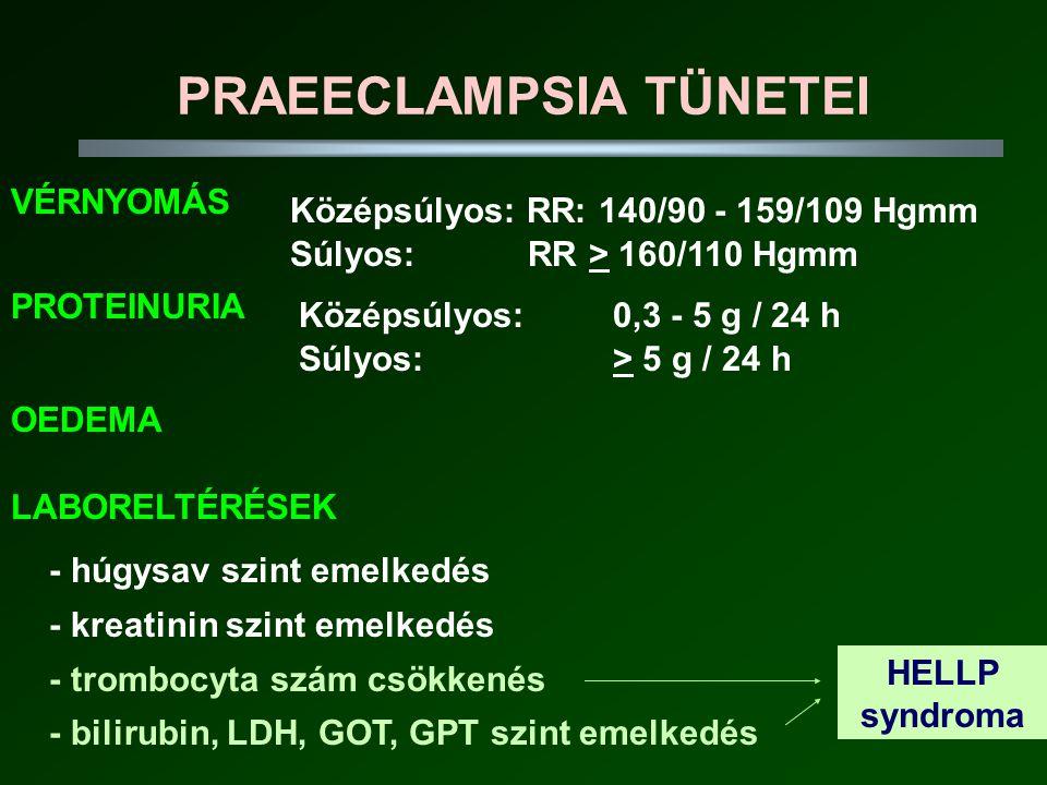 PRAEECLAMPSIA TÜNETEI Súlyos: > 5 g / 24 h Súlyos: RR > 160/110 Hgmm VÉRNYOMÁS PROTEINURIA Középsúlyos: RR: 140/90 - 159/109 Hgmm Középsúlyos: 0,3 - 5 g / 24 h OEDEMA LABORELTÉRÉSEK - húgysav szint emelkedés - kreatinin szint emelkedés - trombocyta szám csökkenés - bilirubin, LDH, GOT, GPT szint emelkedés HELLP syndroma