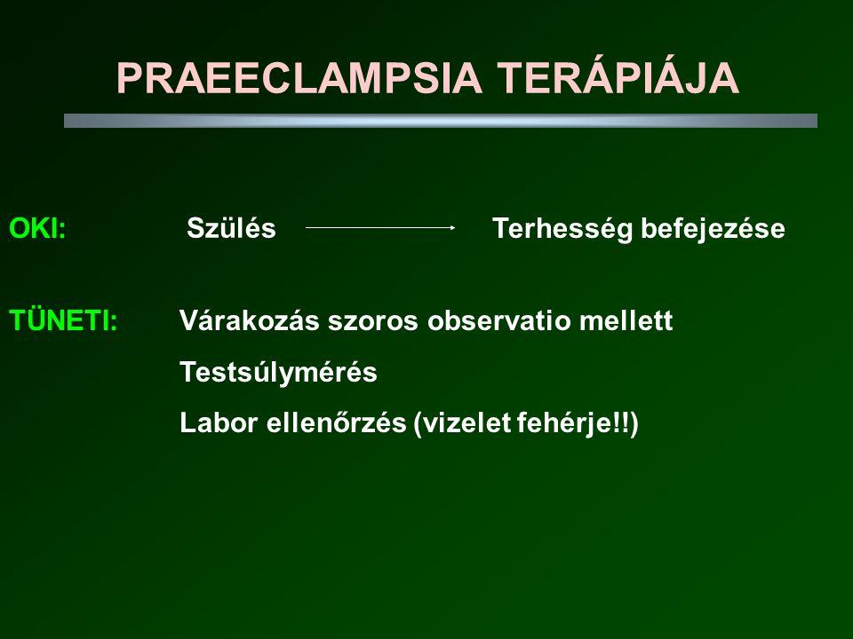 PRAEECLAMPSIA TERÁPIÁJA OKI:Terhesség befejezése Szülés TÜNETI:Várakozás szoros observatio mellett Testsúlymérés Labor ellenőrzés (vizelet fehérje!!)