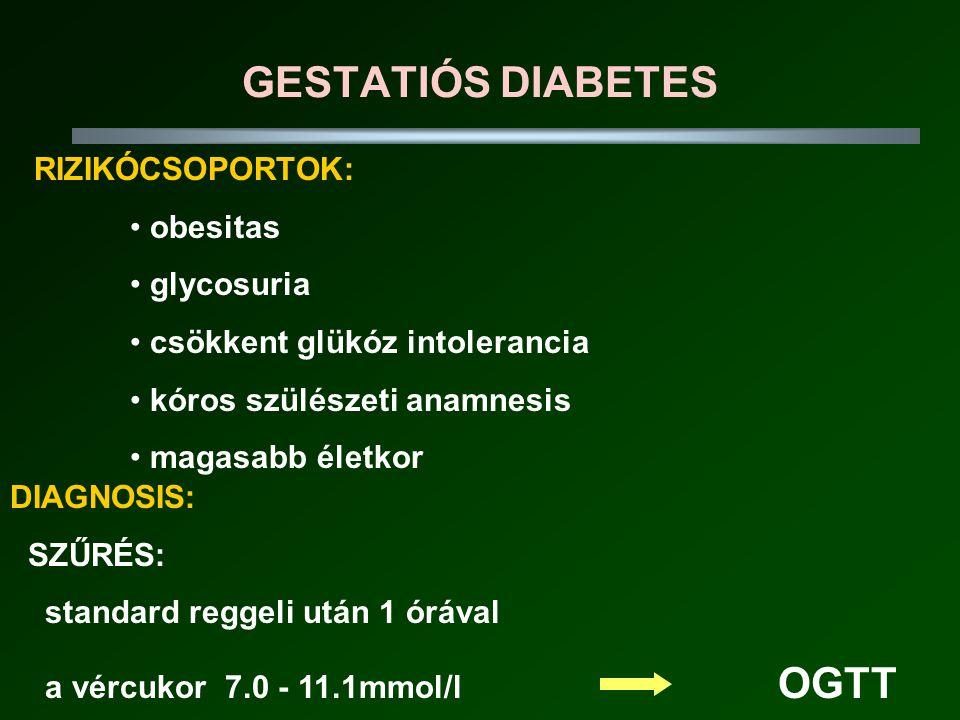 GESTATIÓS DIABETES RIZIKÓCSOPORTOK: • obesitas • glycosuria • csökkent glükóz intolerancia • kóros szülészeti anamnesis • magasabb életkor DIAGNOSIS: SZŰRÉS: standard reggeli után 1 órával a vércukor 7.0 - 11.1mmol/l OGTT