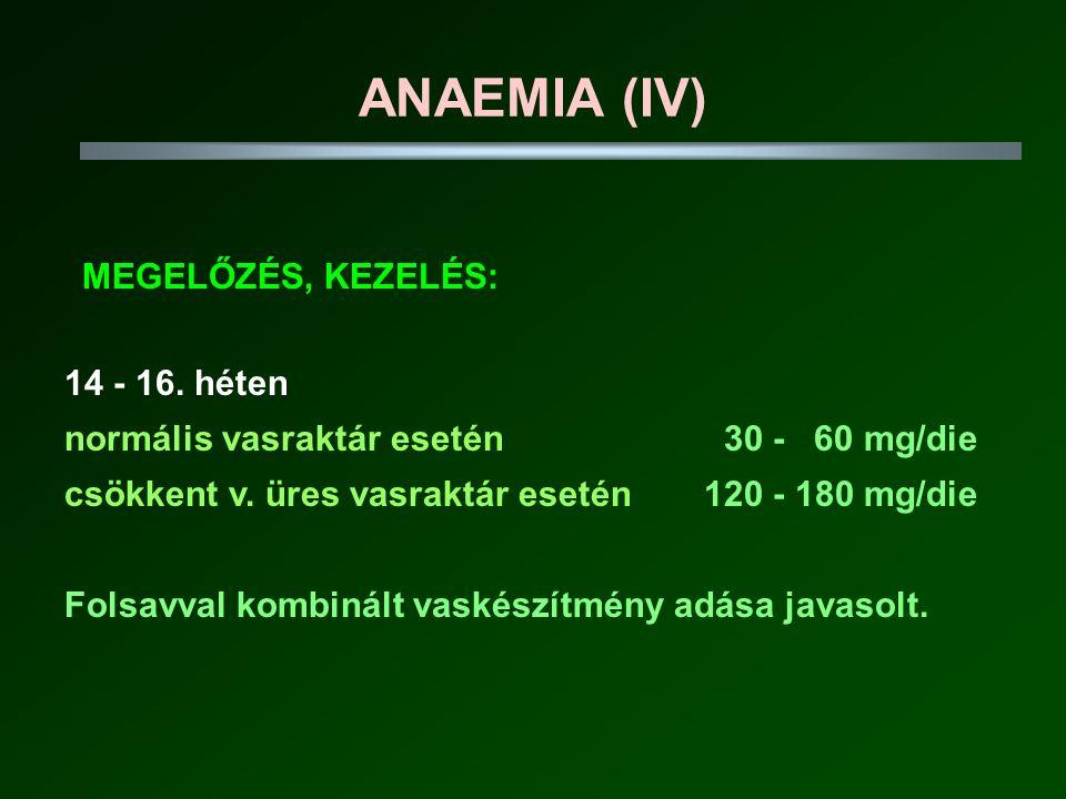 ANAEMIA (IV) MEGELŐZÉS, KEZELÉS: 14 - 16.