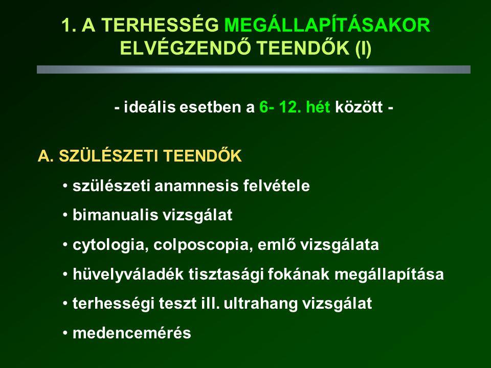 VITAMIN ÉS ÁSVÁNYI ANYAG PÓTLÁS VÍZBEN OLDÓDÓ VITAMINOK: FÓLSAV: pótlás végig indokolt (velőcsőzáródási rendellenesség, spontán vetélés!) C VITAMIN: rutinszerűen nem indokolt (70 mg/die) B VITAMINOK (B 1 :1.5 mg/die, B 2 :1.6 mg/die, niacin:17 NE/die) B 6 VITAMIN: hyperemesis gravidarium, ikerterhesség (2.2 mg/die) B 12 VITAMIN: vegetáriánusoknál pótlás indokolt (2.2 mg/die)