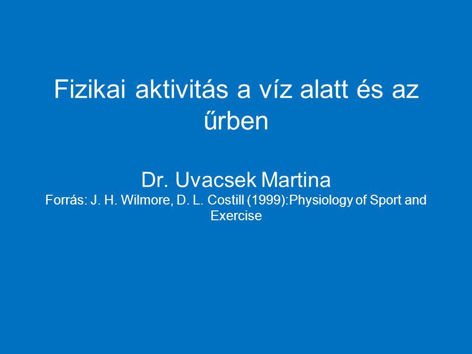 Fizikai aktivitás a víz alatt és az űrben Dr. Uvacsek Martina Forrás: J. H. Wilmore, D. L. Costill (1999):Physiology of Sport and Exercise